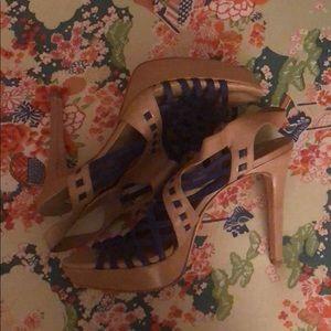 Pour La Victoire Blue/Tan Stiletto Sandals